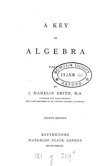 A Key to Algebra PDF