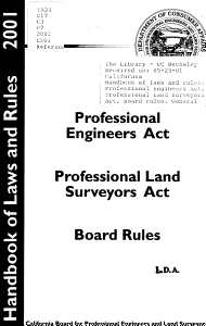 Handbook of Laws and Rules  Professional Engineers Act  Professional Land Surveyors Act  Board Rules  General Provisions of the Business   Professions Code PDF