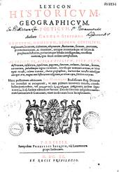 Dictionarium historicum geographicum, poeticum