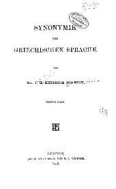 Synonymik der griechischen sprache: Band 1