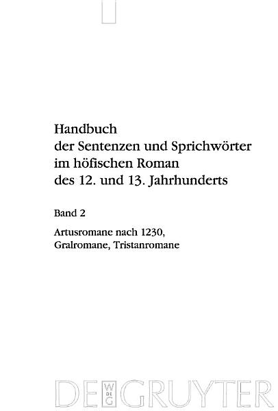 Artusromane Nach 1230 Gralromane Tristanromane
