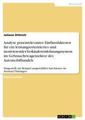 Analyse praxisrelevanter Einflussfaktoren für ein leistungsorientiertes und motivierendes Verkäuferentlohnungssystem im Automobilhandels: Dargestellt am Beispiel ausgewählter Autohäuser im Freistaat Thüringen