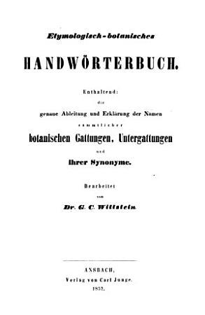 Etymologisch botanisches Handw  rterbuch PDF