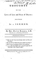 Thoughts on the Love of Life and Fear of Death  delivered in a sermon PDF