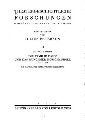 Die Familie Dahn Und Das Munchner Hofschauspiel 1833 1899