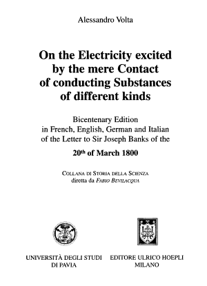 On the Electricity Excited by the Mere Contact of Conducting Substances of Different Kinds