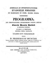 Symbolae ad interpretationem Evangelii Johannis ex marmoribus et numis, maxime Graecis