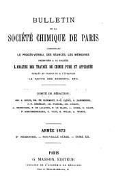 Bulletin de la Société chimique de Paris: Volume20