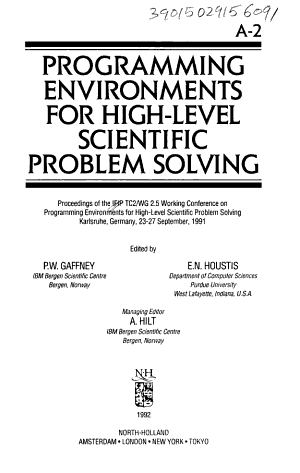 Programming Environments for High level Scientific Problem Solving PDF