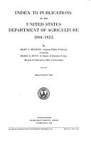 Index to Publications of the United States Department of Agriculture  1901 1925 PDF