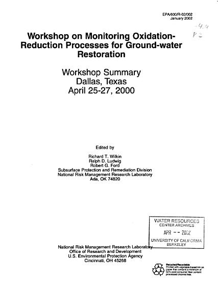 Workshop on Monitoring Oxidation Reduction Processes for Ground water Restoration PDF