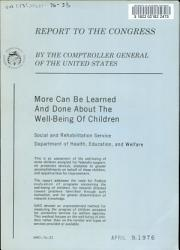 More Can be Learned and Done about the Well being of Children  Social and Rehabilitation Service  Department of Health  Education  and Welfare PDF