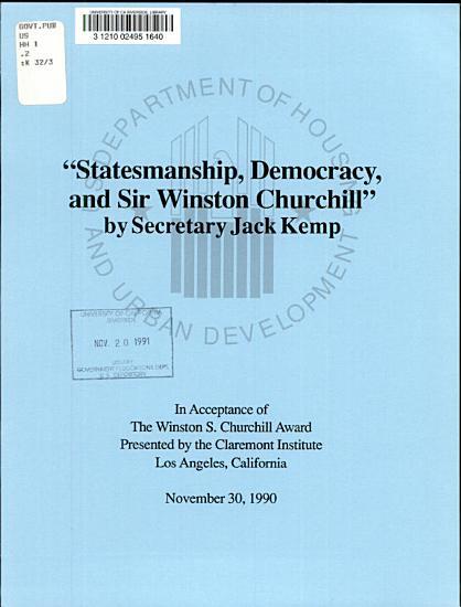 Statesmanship  Democracy  and Sir Winston Churchill PDF