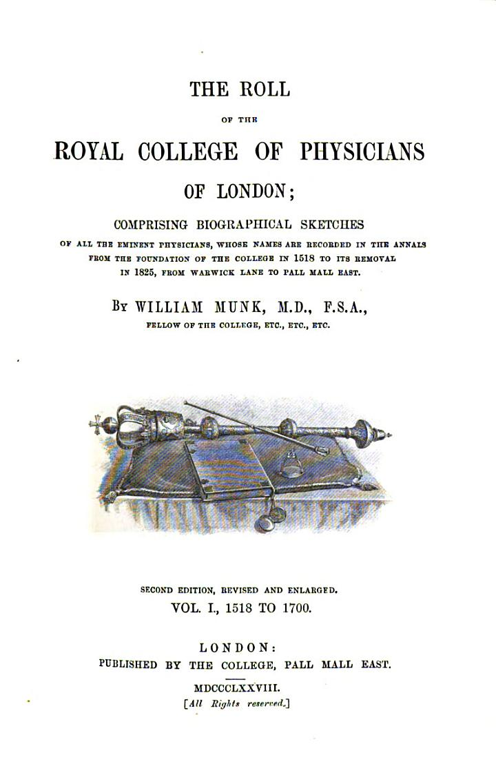 The roll of the Royal College of Physicians of London: Continued to 1993