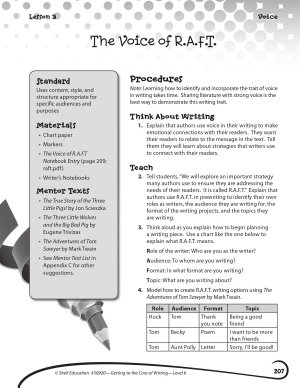 Writing Lesson Level 6  The Voice of R A F T  PDF