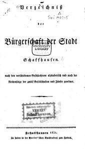 Verzeichnis der Bürgerschaft der Stadt Schaffhausen ...