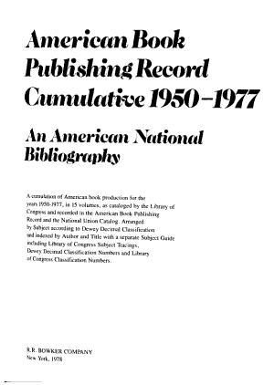 American Book Publishing Record Cumulative  1950 1977  Non Dewey decimal classified titles PDF