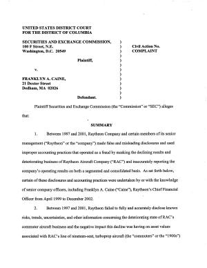 Franklyn A  Caine  Edward S  Pliner  and James E  Gray  Securities and Exchange Commission Litigation Complaint  Caine