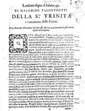 Lettione sopra il salmo 49. di Melchior Palontrotti. Della S.ma Trinita e vocatione delle genti. ..