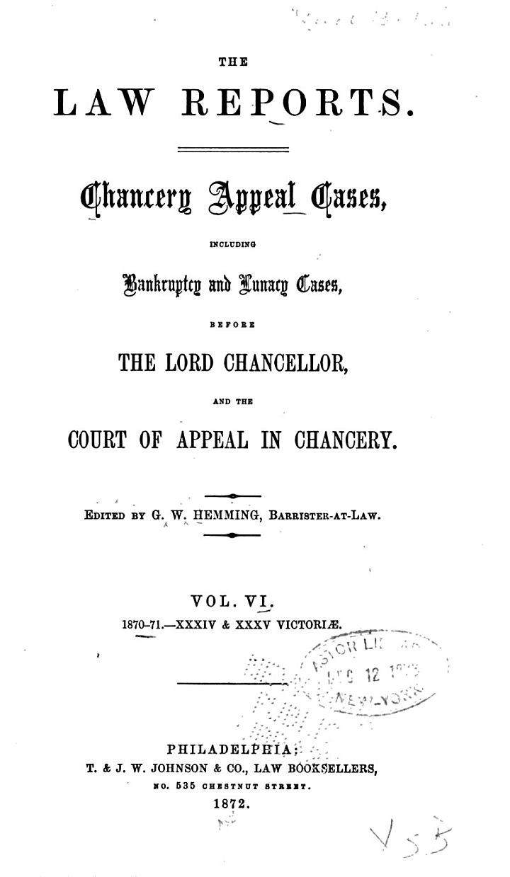 The Law Reports [of the Incorporated Council of Law Reporting]