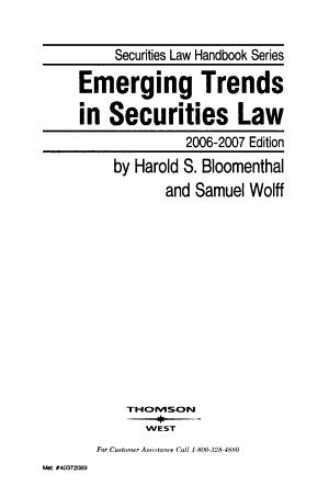 Emerging Trends in Securities Law PDF