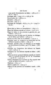 Table générale des artistes ayant exposé aux Salons du XVIIIe siècle: suivie d'une table de la bibliographie des Salons, précédée de notes sur les anciennes expositions et d'une liste raisonnée des Salons de 1801 à 1873