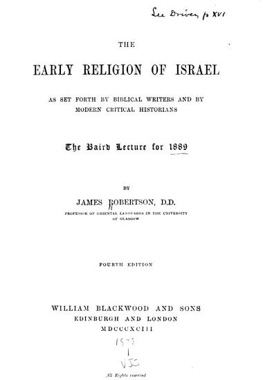 The Early Religion of Israel PDF