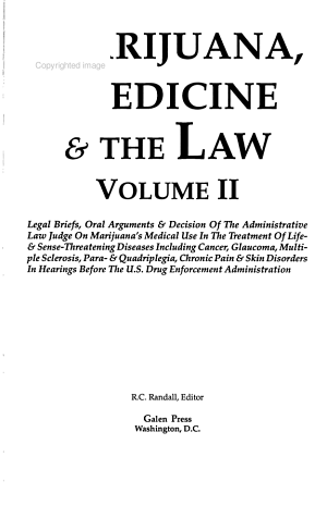 Marijuana  Medicine   the Law PDF