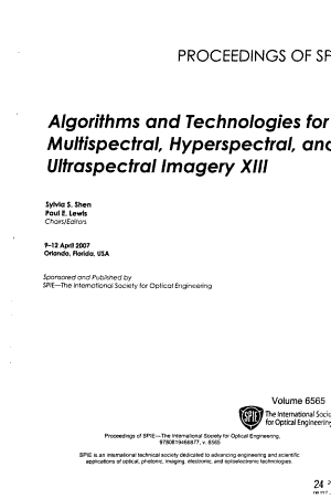 Algorithms and Technologies for Multispectral  Hyperspectral  and Ultraspectral Imagery PDF
