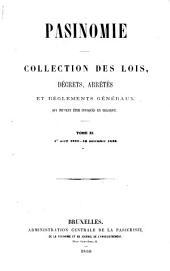 Pasinomie: collection des lois, décrets, arrêtés et règlements généraux qui peuvent être invoqués en Belgique, Volume11
