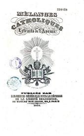 """Mélanges catholiques extraits de """"l'Avenir"""""""