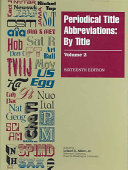 Download Periodical Title and Abbreviation by Abbreviation Book