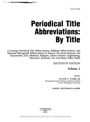 Periodical Title and Abbreviation by Abbreviation PDF