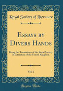 Essays by Divers Hands, Vol. 2