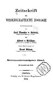 Zeitschrift für wissenschaftliche Zoologie: Band 27