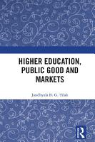 Higher Education  Public Good and Markets PDF