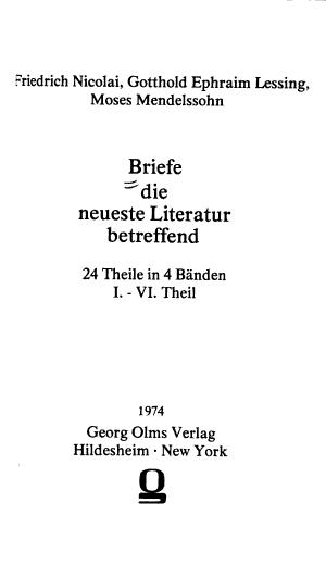 Briefe die neueste Literatur betreffend PDF