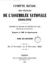 Compte rendu des séances de l'Assemblée nationale législative. 28 mai 1849 (-1 déc. 1851). [With] Table analytique ... du Compte rendu ... et des documents imprimés par ... ordre (de l'Assemblée).