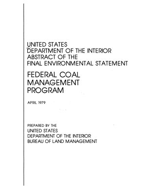 Abstract of the Final Environmental Statement  Federal Coal Management Program PDF