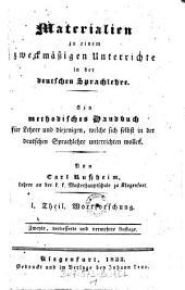 Wortforschung: Volume 1
