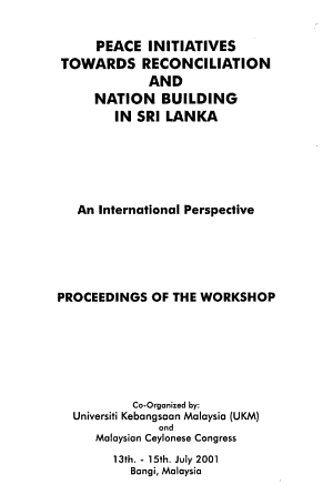 Peace Initiatives Towards Reconciliation and Nation Building in Sri Lanka PDF