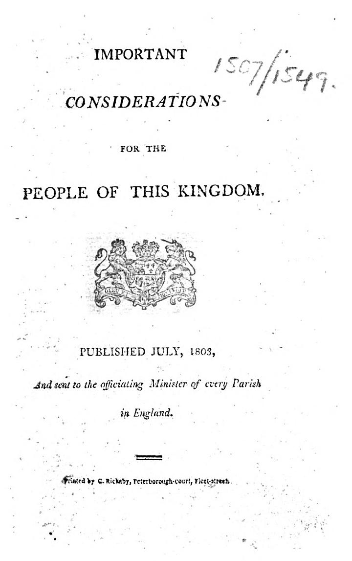 Important Considerations for the People of this Kingdom, etc. [By William Cobbett.]