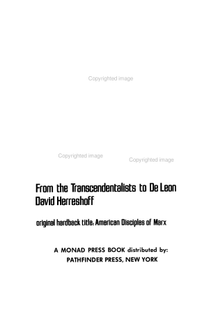 The Origins of American Marxism  from the Transcendentalists to De Leon