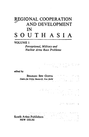 Regional Cooperation and Development in South Asia PDF