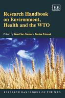 Research Handbook on Environment  Health and the WTO PDF