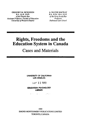 Rights  Freedoms and the Education System in Canada PDF