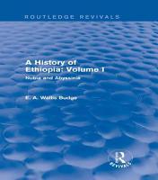 A History of Ethiopia  Volume I  Routledge Revivals  PDF