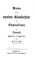 Rede bei der zweiten S  cularfeier des Gymnasiums zu Bayreuth gehalten am 10  August 1864 PDF