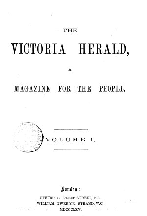 The Victoria herald  a magazine for the people PDF