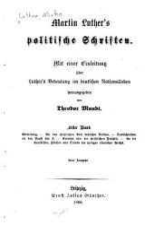 Politische Schriften, mit einer Einleitung über Luther's Bedeutung im deutschen Nationalleben